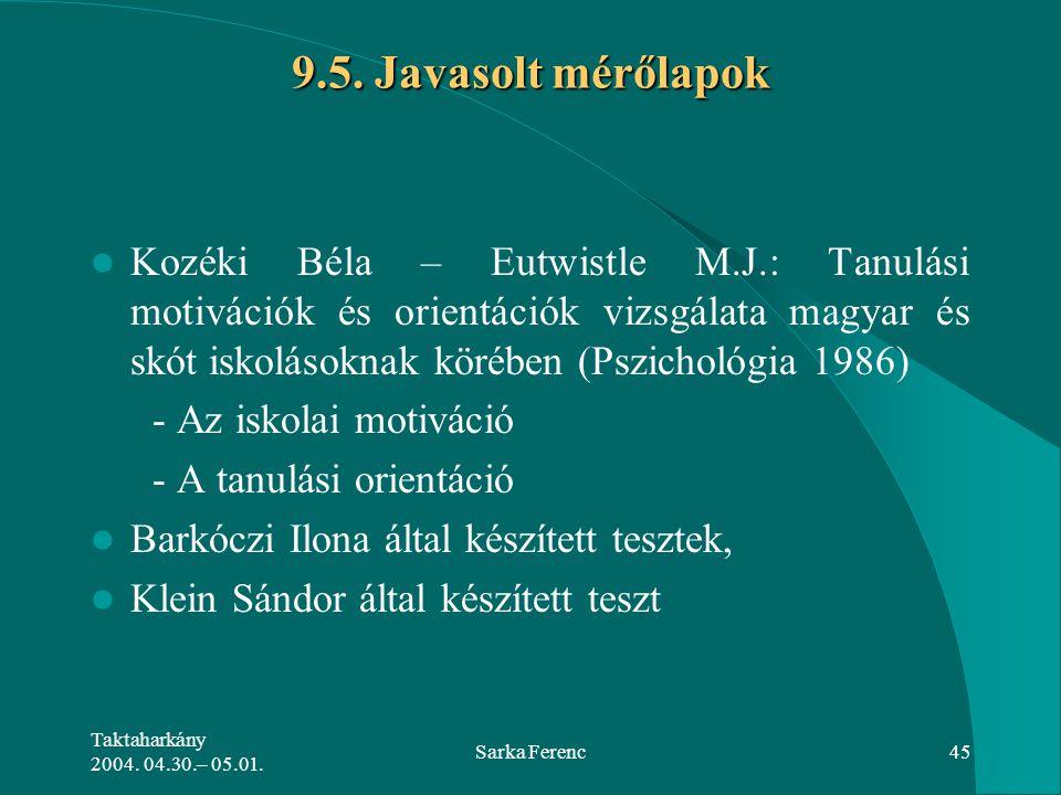 Taktaharkány 2004. 04.30.– 05.01. Sarka Ferenc45 9.5. Javasolt mérőlapok Kozéki Béla – Eutwistle M.J.: Tanulási motivációk és orientációk vizsgálata m