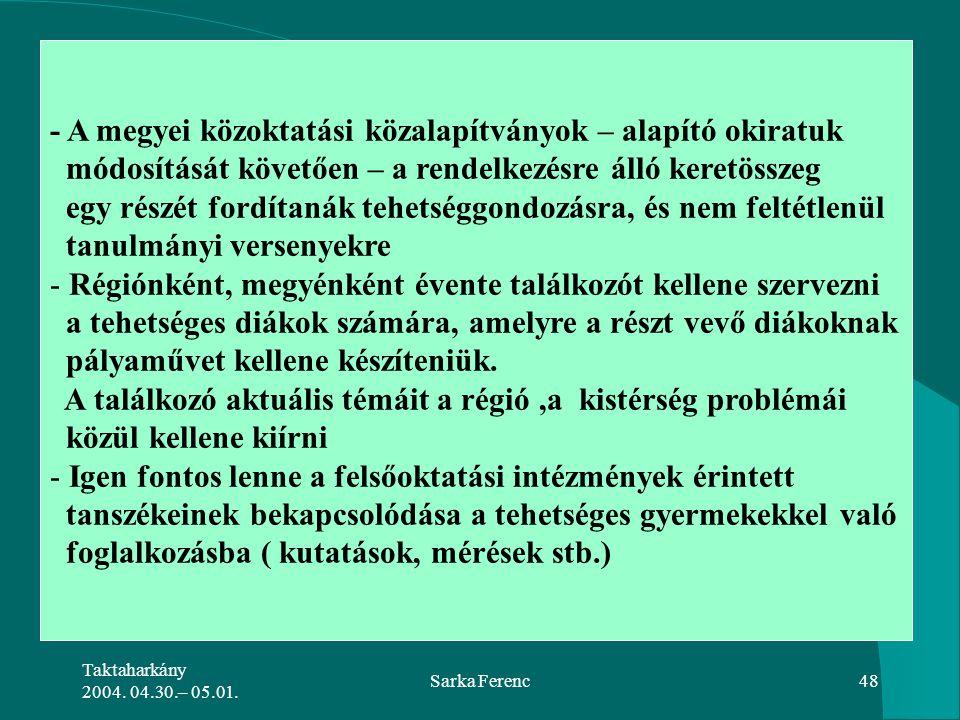 Taktaharkány 2004. 04.30.– 05.01. Sarka Ferenc48 - A megyei közoktatási közalapítványok – alapító okiratuk módosítását követően – a rendelkezésre álló