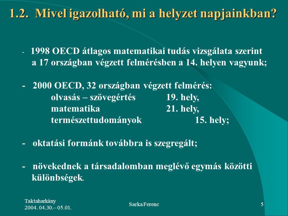 Taktaharkány 2004. 04.30.– 05.01. Sarka Ferenc5 1.2. Mivel igazolható, mi a helyzet napjainkban? - 1998 OECD átlagos matematikai tudás vizsgálata szer