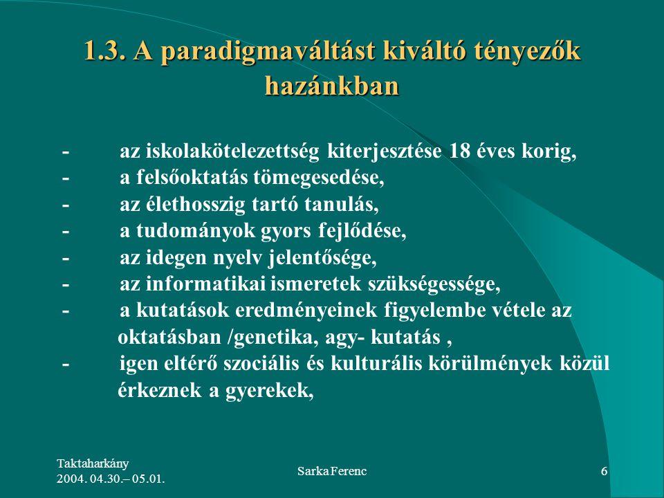 Taktaharkány 2004. 04.30.– 05.01. Sarka Ferenc6 1.3. A paradigmaváltást kiváltó tényezők hazánkban - az iskolakötelezettség kiterjesztése 18 éves kori