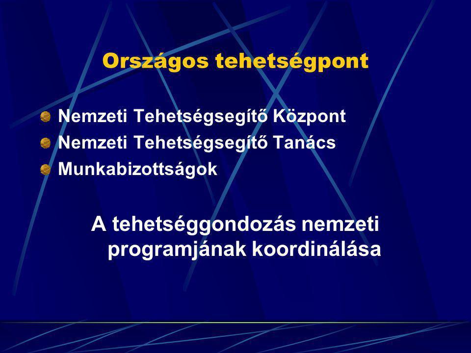 Országos tehetségpont Nemzeti Tehetségsegítő Központ Nemzeti Tehetségsegítő Tanács Munkabizottságok A tehetséggondozás nemzeti programjának koordinálá