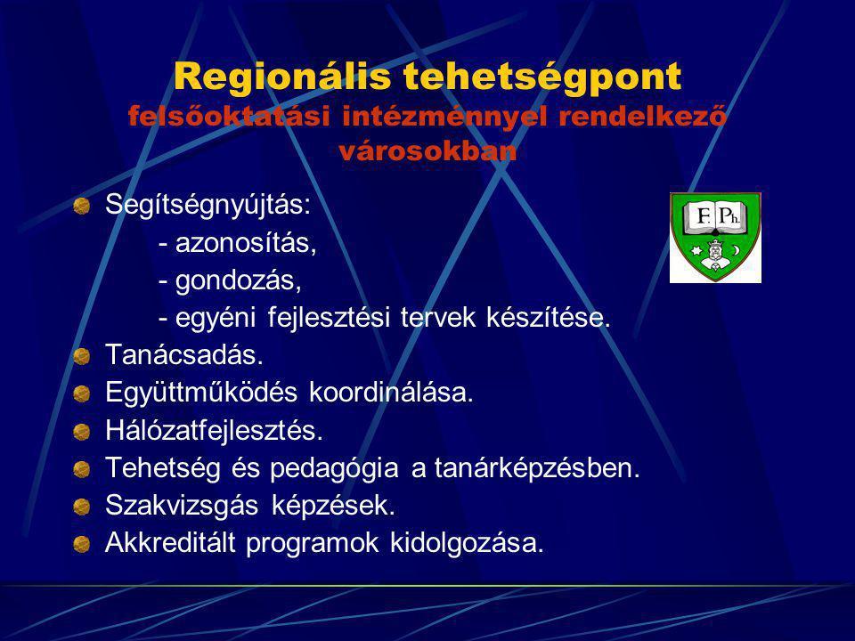 Regionális tehetségpont felsőoktatási intézménnyel rendelkező városokban Segítségnyújtás: - azonosítás, - gondozás, - egyéni fejlesztési tervek készít