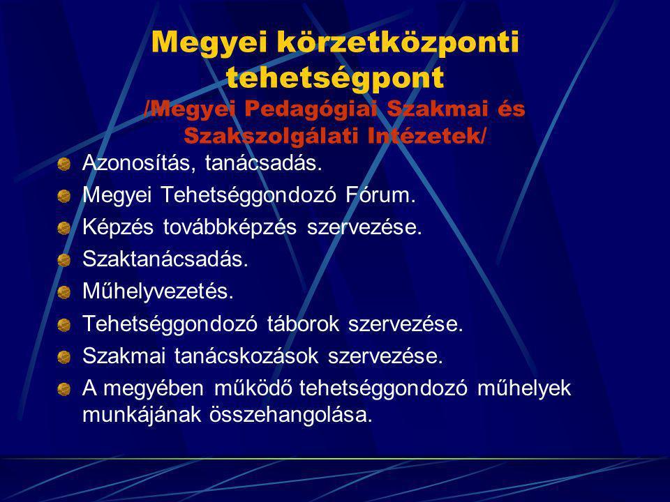 Megyei körzetközponti tehetségpont /Megyei Pedagógiai Szakmai és Szakszolgálati Intézetek/ Azonosítás, tanácsadás. Megyei Tehetséggondozó Fórum. Képzé