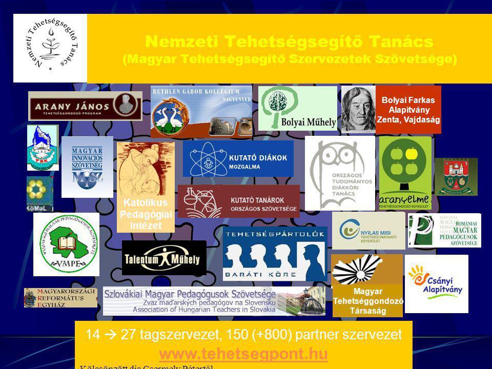 Bolyai Farkas Alapítvány Zenta, Vajdaság Katolikus Pedagógiai Intézet Magyar Tehetséggondozó Társaság 14  27 tagszervezet, 150 (+800) partner szervez
