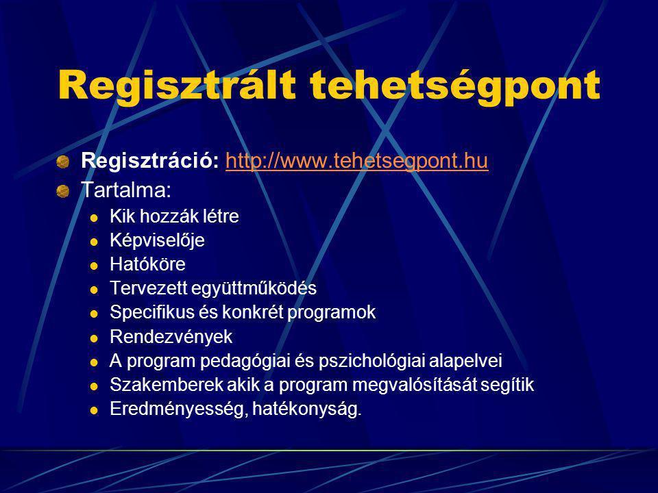 Regisztrált tehetségpont Regisztráció: http://www.tehetsegpont.hu http://www.tehetsegpont.hu Tartalma: Kik hozzák létre Képviselője Hatóköre Tervezett