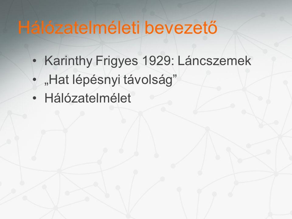 """Hálózatelméleti bevezető Karinthy Frigyes 1929: Láncszemek """"Hat lépésnyi távolság Hálózatelmélet"""