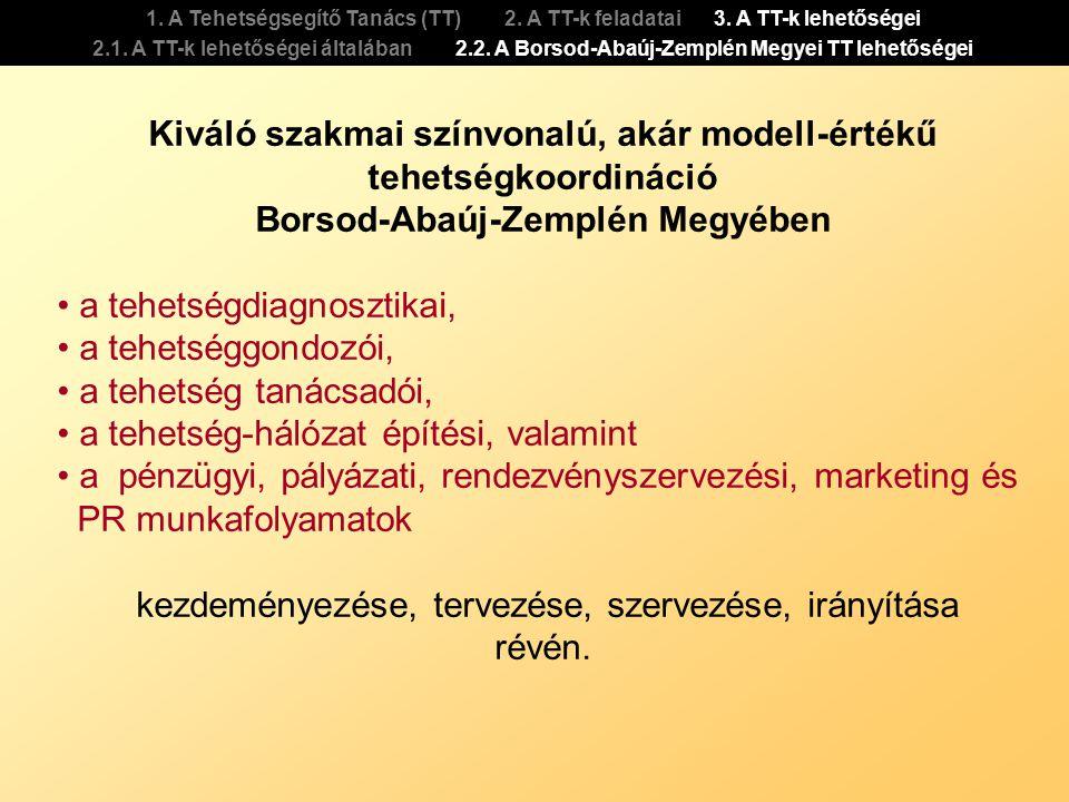 1. A Tehetségsegítő Tanács (TT) 2. A TT-k feladatai 3. A TT-k lehetőségei 2.1. A TT-k lehetőségei általában 2.2. A Borsod-Abaúj-Zemplén Megyei TT lehe