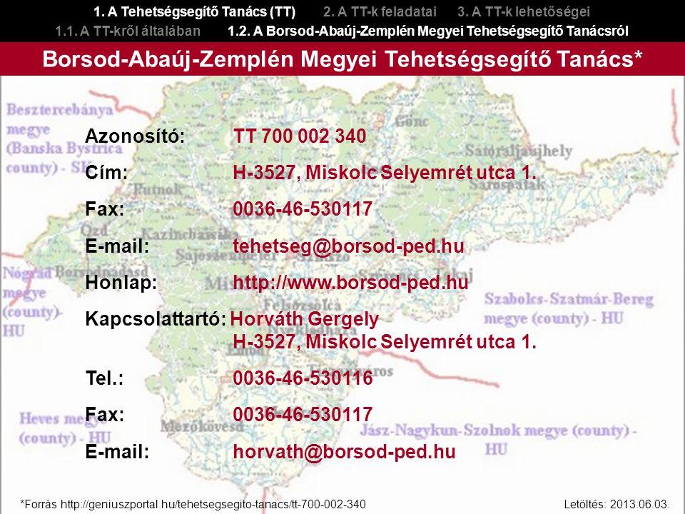 Azonosító: TT 700 002 340 Cím: H-3527, Miskolc Selyemrét utca 1. Fax: 0036-46-530117 E-mail: tehetseg@borsod-ped.hu Honlap: http://www.borsod-ped.hu K