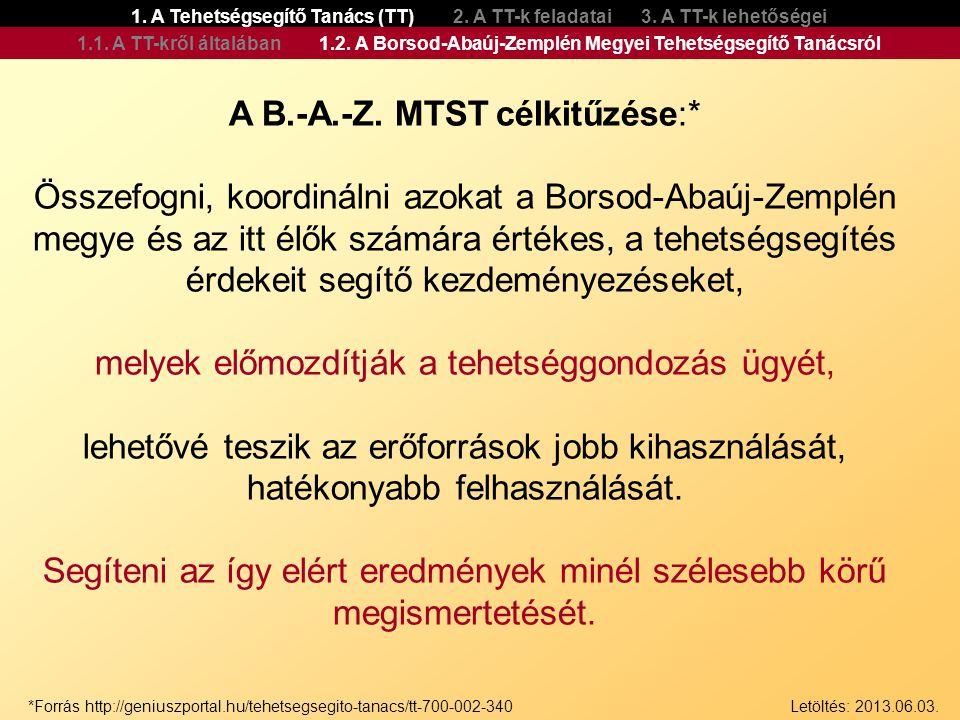 A B.-A.-Z. MTST célkitűzése:* Összefogni, koordinálni azokat a Borsod-Abaúj-Zemplén megye és az itt élők számára értékes, a tehetségsegítés érdekeit s