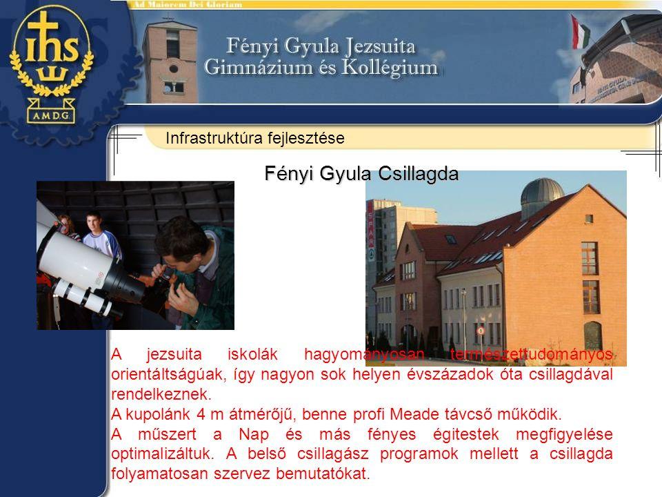 Fényi Gyula Csillagda A jezsuita iskolák hagyományosan természettudományos orientáltságúak, így nagyon sok helyen évszázadok óta csillagdával rendelkeznek.