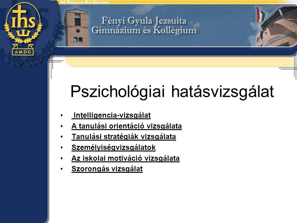 Pszichológiai hatásvizsgálat Intelligencia-vizsgálat A tanulási orientáció vizsgálata Tanulási stratégiák vizsgálata Személyiségvizsgálatok Az iskolai motiváció vizsgálata Szorongás vizsgálat