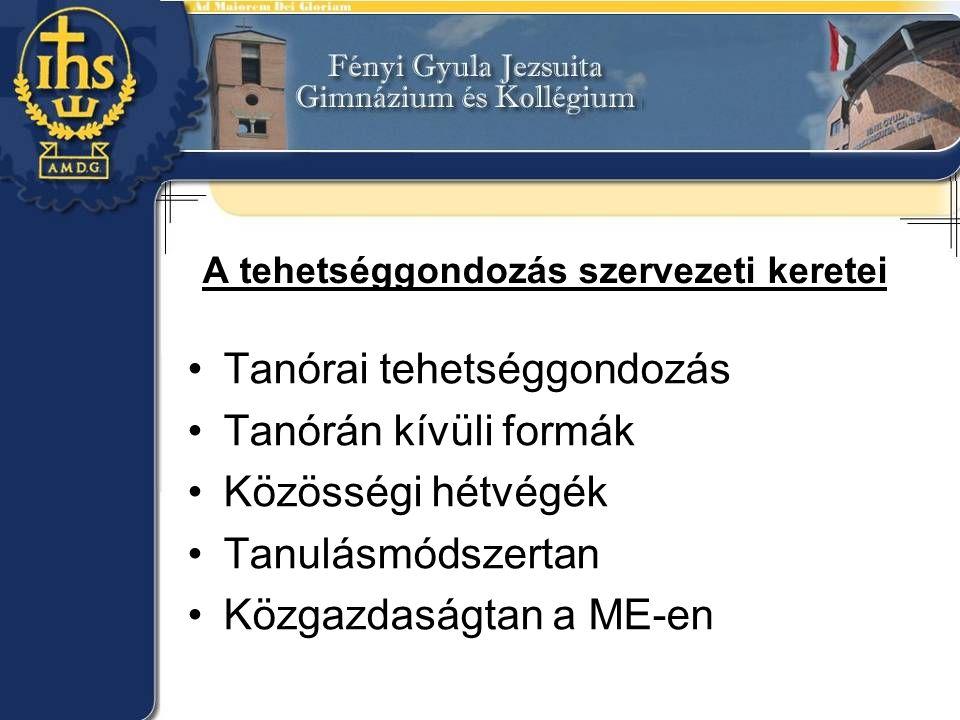 A tehetséggondozás szervezeti keretei Tanórai tehetséggondozás Tanórán kívüli formák Közösségi hétvégék Tanulásmódszertan Közgazdaságtan a ME-en
