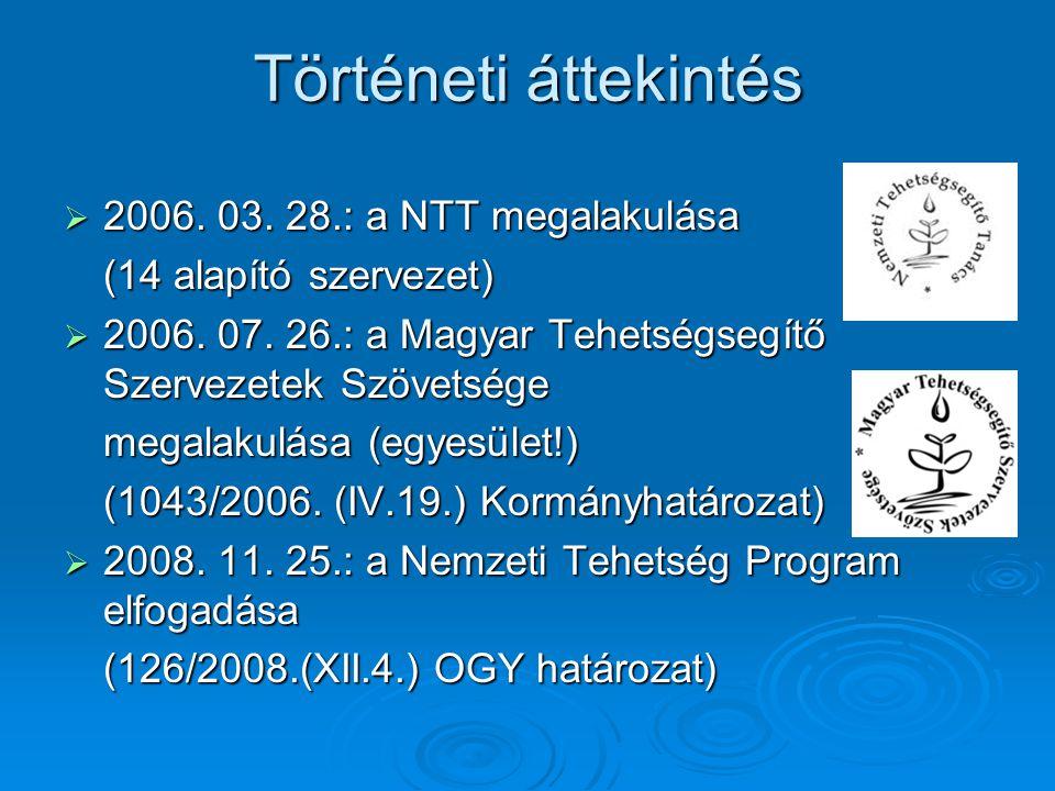Történeti áttekintés  2006. 03. 28.: a NTT megalakulása (14 alapító szervezet)  2006.