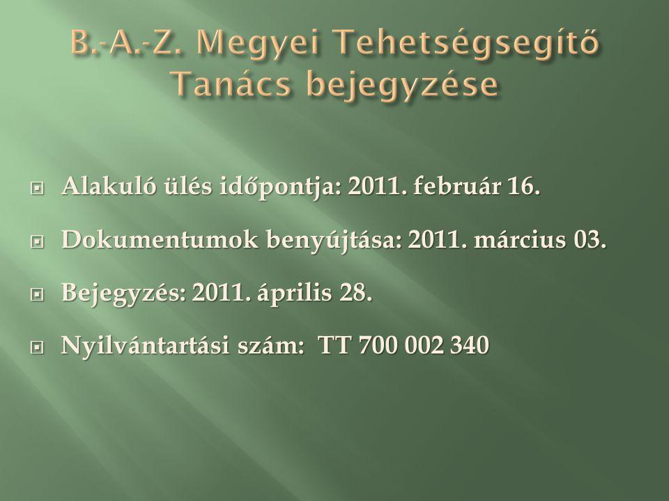 Alakuló ülés időpontja: 2011. február 16.  Dokumentumok benyújtása: 2011.