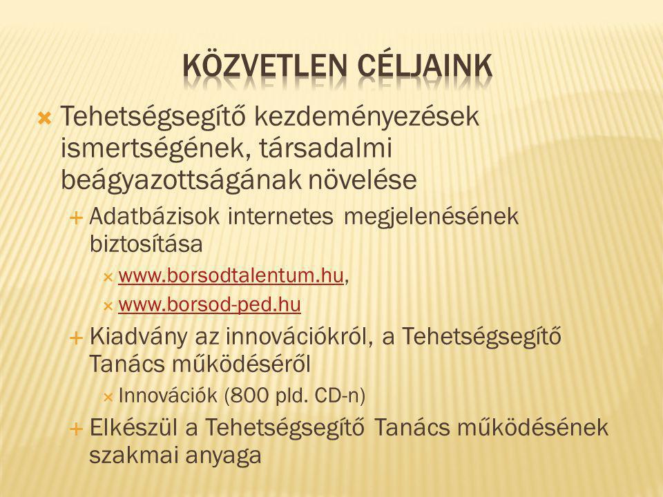  Tehetségsegítő kezdeményezések ismertségének, társadalmi beágyazottságának növelése  Adatbázisok internetes megjelenésének biztosítása  www.borsodtalentum.hu, www.borsodtalentum.hu  www.borsod-ped.hu www.borsod-ped.hu  Kiadvány az innovációkról, a Tehetségsegítő Tanács működéséről  Innovációk (800 pld.