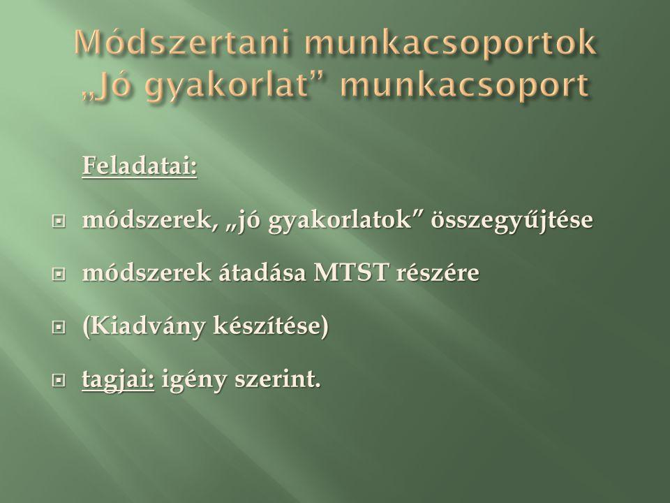 """Feladatai:  módszerek, """"jó gyakorlatok összegyűjtése  módszerek átadása MTST részére  (Kiadvány készítése)  tagjai: igény szerint."""