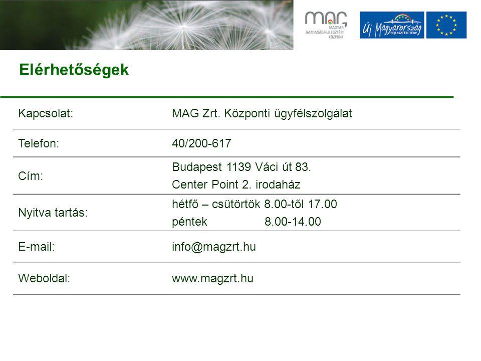 Kapcsolat:MAG Zrt.Központi ügyfélszolgálat Telefon:40/200-617 Cím: Budapest 1139 Váci út 83.