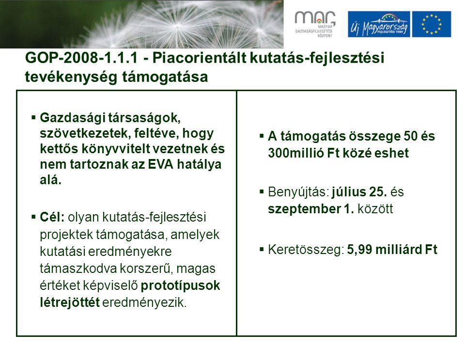 GOP-2008-1.1.1 - Piacorientált kutatás-fejlesztési tevékenység támogatása  Gazdasági társaságok, szövetkezetek, feltéve, hogy kettős könyvvitelt vezetnek és nem tartoznak az EVA hatálya alá.