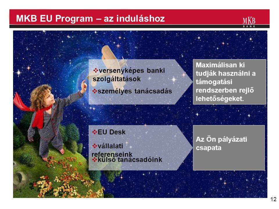 12 MKB EU Program – az induláshoz  EU Desk  vállalati referenseink  külső tanácsadóink Az Ön pályázati csapata  versenyképes banki szolgáltatások