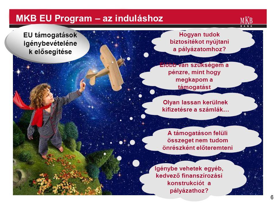 6 MKB EU Program – az induláshoz Hogyan tudok biztosítékot nyújtani a pályázatomhoz? Előbb van szükségem a pénzre, mint hogy megkapom a támogatást Oly