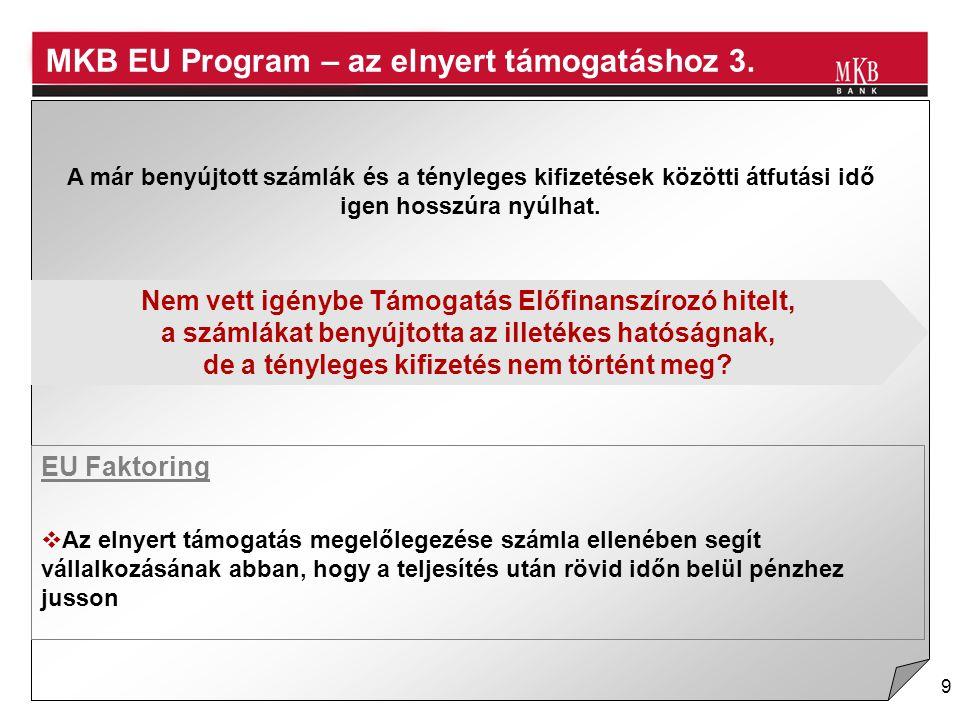 9 EU Faktoring A már benyújtott számlák és a tényleges kifizetések közötti átfutási idő igen hosszúra nyúlhat.  Az elnyert támogatás megelőlegezése s