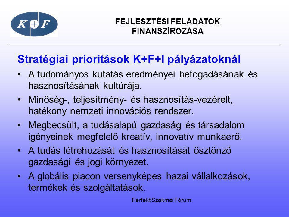 FEJLESZTÉSI FELADATOK FINANSZÍROZÁSA Stratégiai prioritások K+F+I pályázatoknál A tudományos kutatás eredményei befogadásának és hasznosításának kultú
