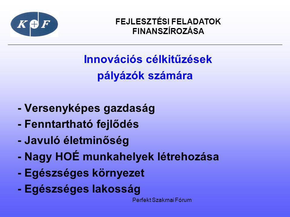 FEJLESZTÉSI FELADATOK FINANSZÍROZÁSA Innovációs célkitűzések pályázók számára - Versenyképes gazdaság - Fenntartható fejlődés - Javuló életminőség - N