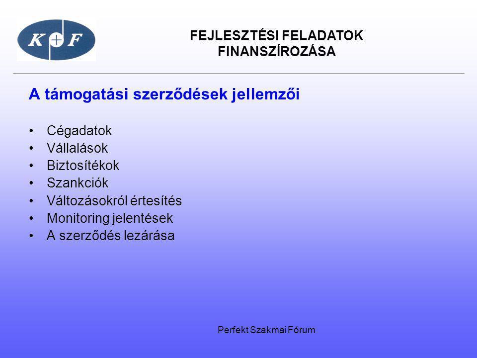 FEJLESZTÉSI FELADATOK FINANSZÍROZÁSA A támogatási szerződések jellemzői Cégadatok Vállalások Biztosítékok Szankciók Változásokról értesítés Monitoring