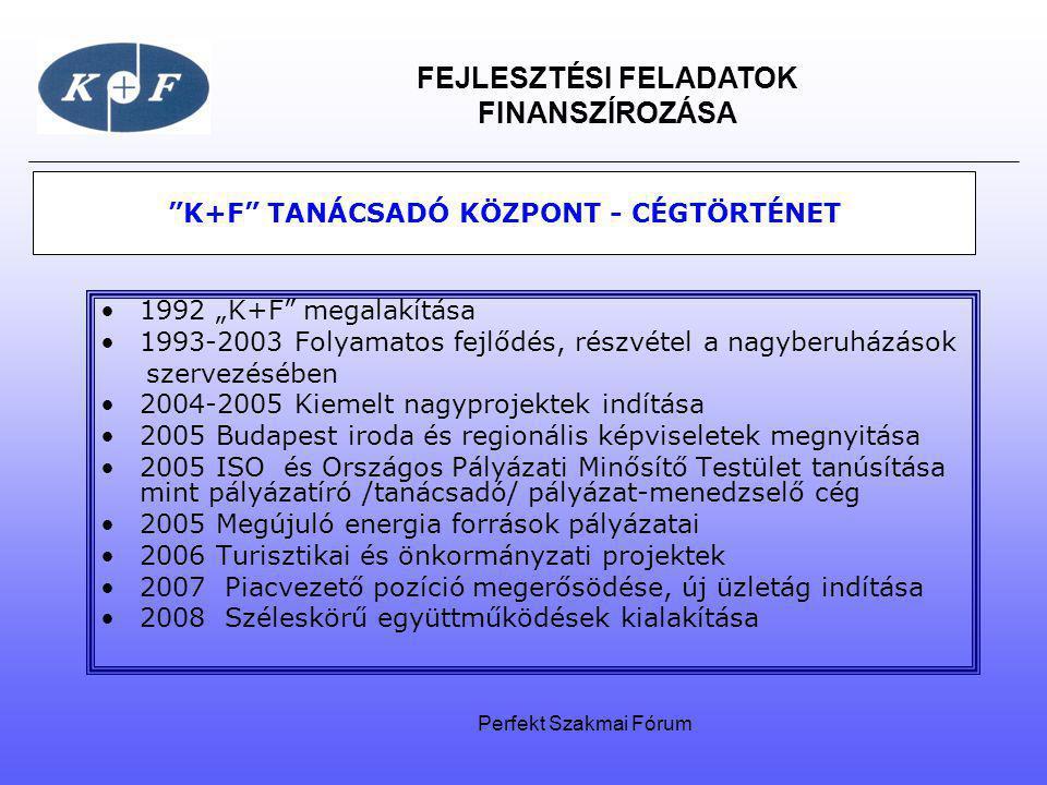 """FEJLESZTÉSI FELADATOK FINANSZÍROZÁSA """"K+F"""" TANÁCSADÓ KÖZPONT - CÉGTÖRTÉNET 1992 """"K+F"""" megalakítása 1993-2003 Folyamatos fejlődés, részvétel a nagyberu"""