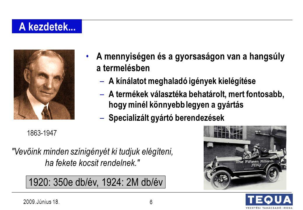 2009.Június 18. 5 Toyota filozófia LEAN- MANUFACTURING Jó gondolkodás - jó termék LEAN- MANUFACTURING