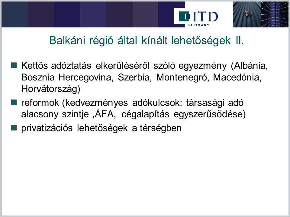 Balkáni régió által kínált lehetőségek II. Kettős adóztatás elkerüléséről szóló egyezmény (Albánia, Bosznia Hercegovina, Szerbia, Montenegró, Macedóni