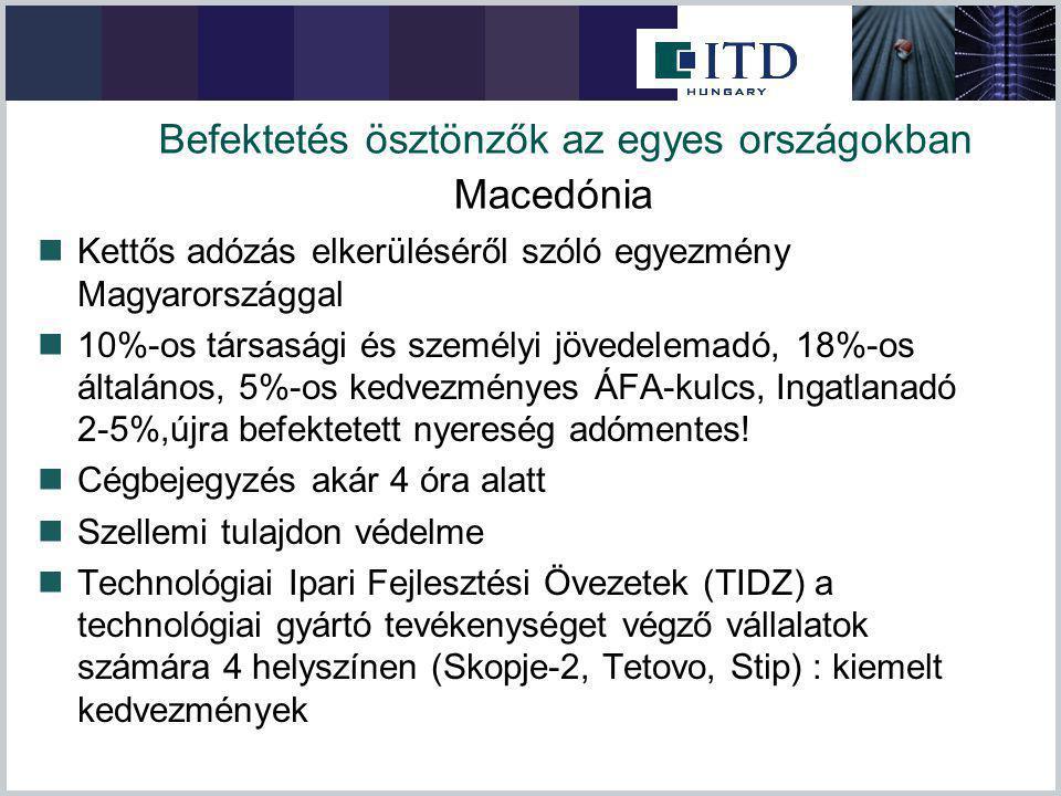 Befektetés ösztönzők az egyes országokban Kettős adózás elkerüléséről szóló egyezmény Magyarországgal 10%-os társasági és személyi jövedelemadó, 18%-o