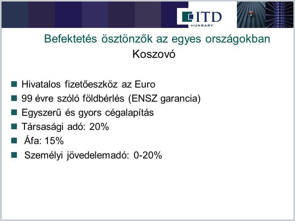 Befektetés ösztönzők az egyes országokban Hivatalos fizetőeszköz az Euro 99 évre szóló földbérlés (ENSZ garancia) Egyszerű és gyors cégalapítás Társas