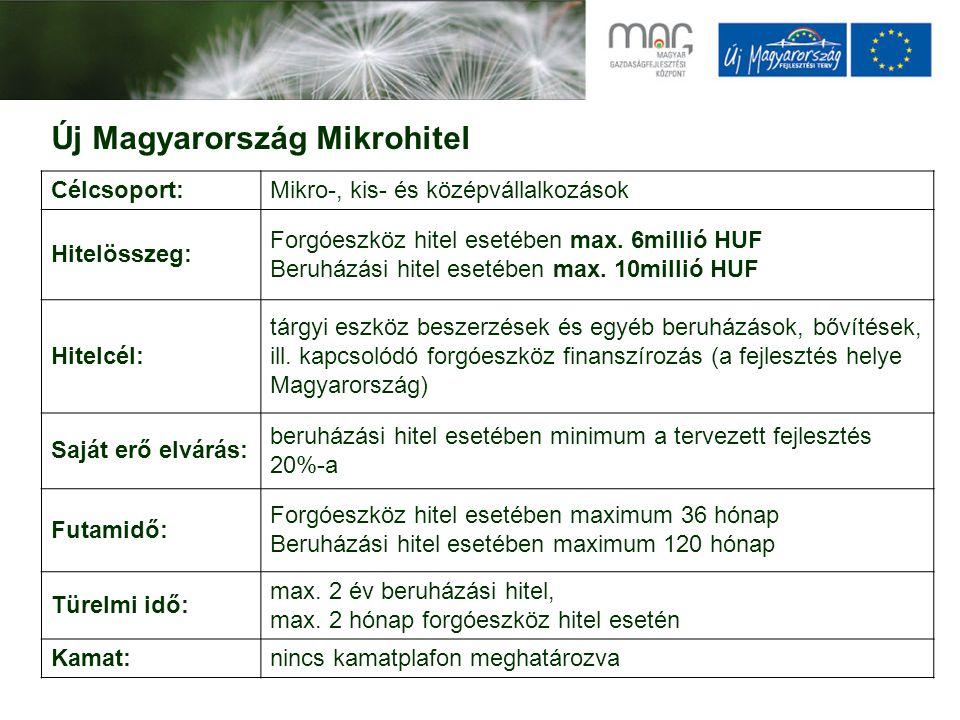 Új Magyarország Mikrohitel Célcsoport:Mikro-, kis- és középvállalkozások Hitelösszeg: Forgóeszköz hitel esetében max. 6millió HUF Beruházási hitel ese