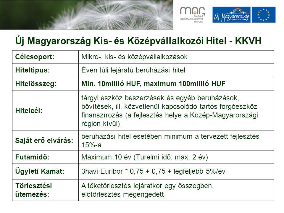 Új Magyarország Kis- és Középvállalkozói Hitel - KKVH Célcsoport:Mikro-, kis- és középvállalkozások Hiteltípus:Éven túli lejáratú beruházási hitel Hit