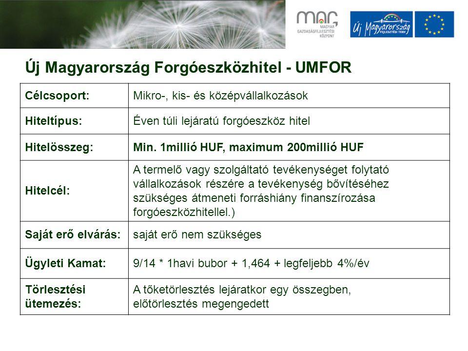Új Magyarország Forgóeszközhitel - UMFOR Célcsoport:Mikro-, kis- és középvállalkozások Hiteltípus:Éven túli lejáratú forgóeszköz hitel Hitelösszeg:Min.
