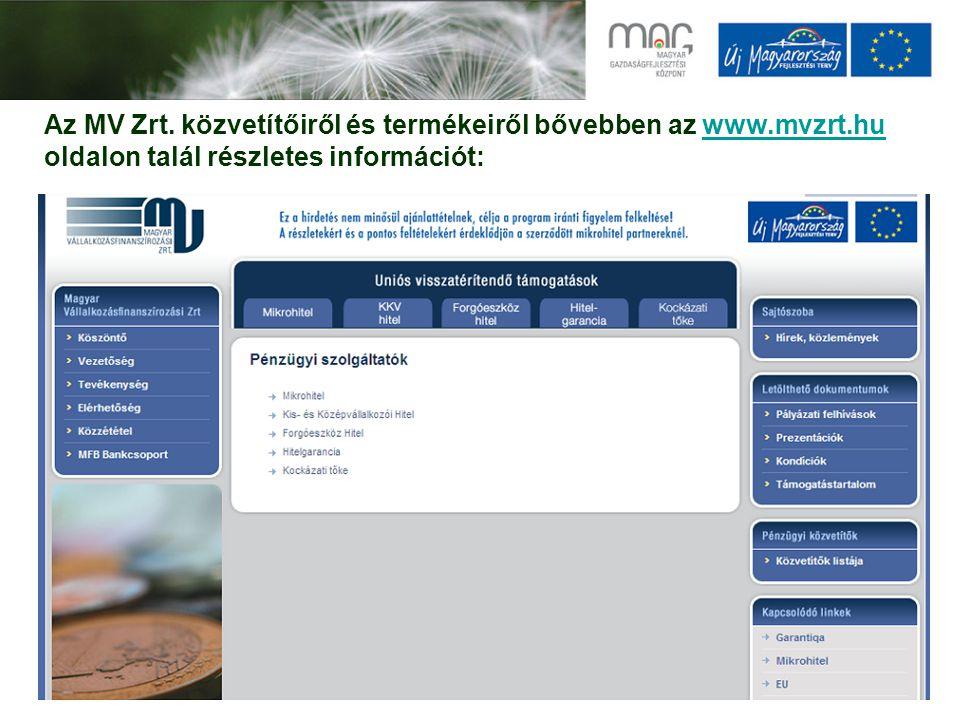 Az MV Zrt. közvetítőiről és termékeiről bővebben az www.mvzrt.hu oldalon talál részletes információt:www.mvzrt.hu