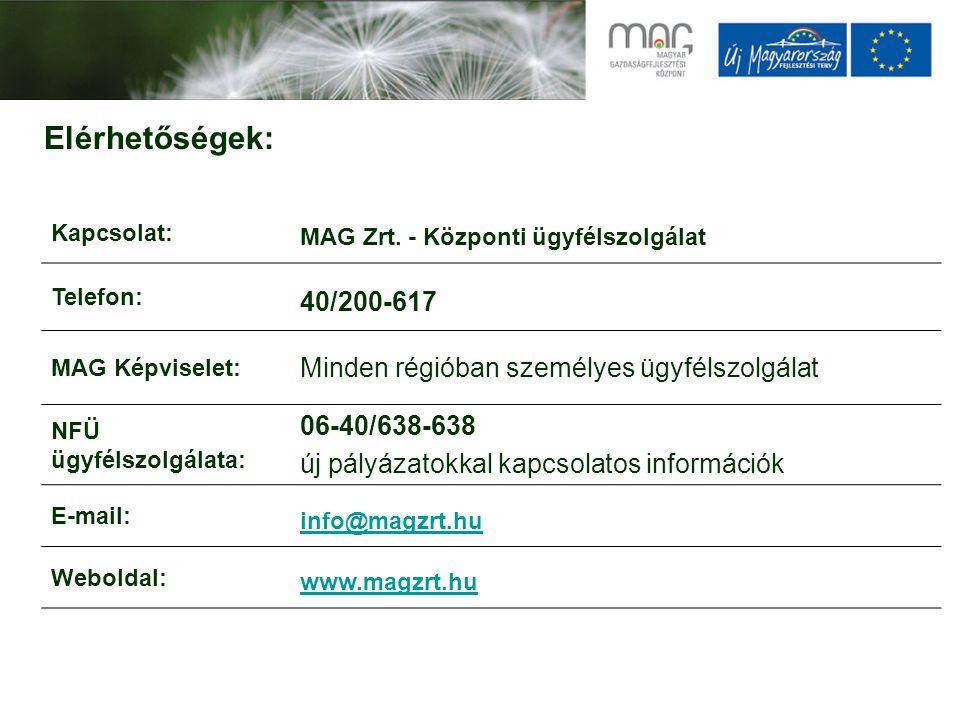 Elérhetőségek: Kapcsolat: MAG Zrt. - Központi ügyfélszolgálat Telefon: 40/200-617 MAG Képviselet: Minden régióban személyes ügyfélszolgálat NFÜ ügyfél