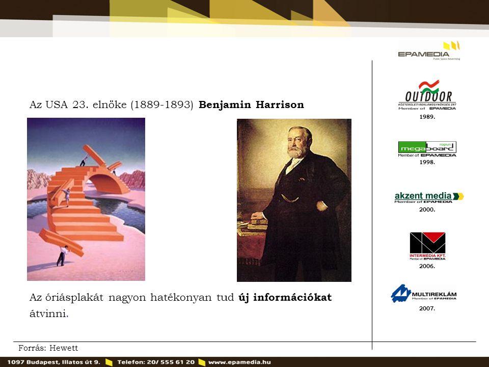 1989. 2000. 1998. 2007. 2006. Az USA 23. elnöke (1889-1893) Benjamin Harrison Az óriásplakát nagyon hatékonyan tud új információkat átvinni. Forrás: H