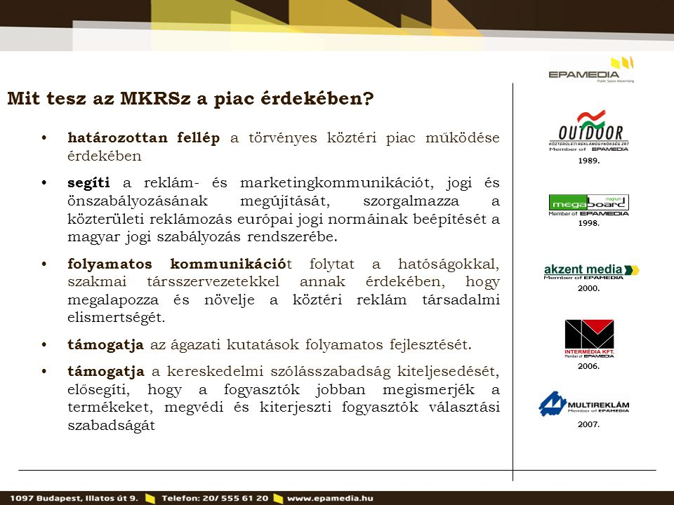 1989. 2000. 1998. 2007. 2006. Mit tesz az MKRSz a piac érdekében? határozottan fellép a törvényes köztéri piac működése érdekében segíti a reklám- és
