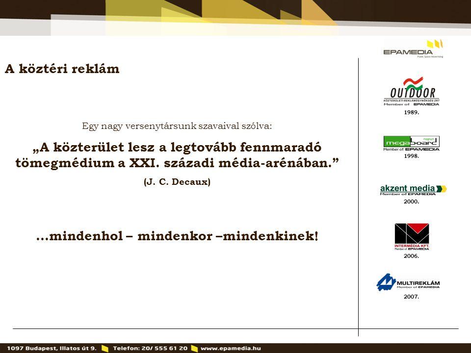 """1989. 2000. 1998. 2007. 2006. A köztéri reklám Egy nagy versenytársunk szavaival szólva: """"A közterület lesz a legtovább fennmaradó tömegmédium a XXI."""