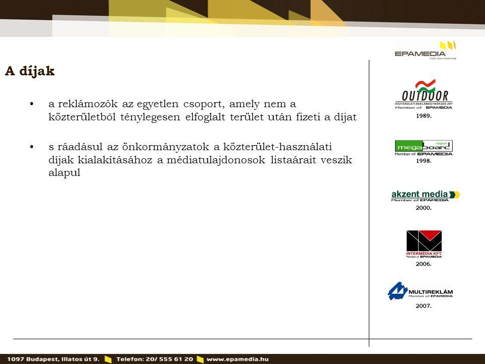 1989. 2000. 1998. 2007. 2006. A díjak a reklámozók az egyetlen csoport, amely nem a közterületből ténylegesen elfoglalt terület után fizeti a díjat s