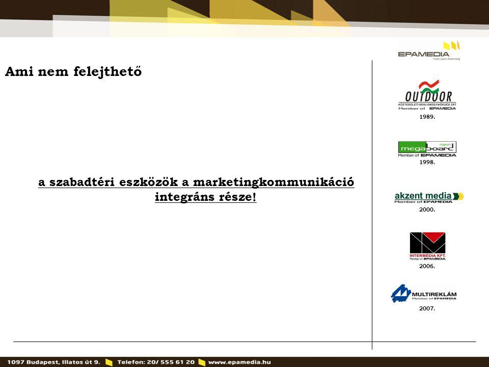 1989. 2000. 1998. 2007. 2006. Ami nem felejthető a szabadtéri eszközök a marketingkommunikáció integráns része!