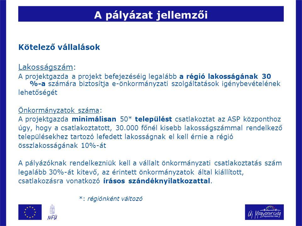 Kötelező vállalások Lakosságszám: A projektgazda a projekt befejezéséig legalább a régió lakosságának 30 %-a számára biztosítja e-önkormányzati szolgá