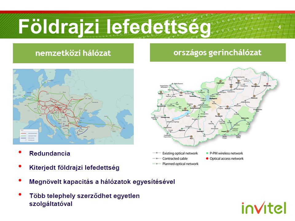 4 Földrajzi lefedettség országos gerinchálózat nemzetközi hálózat Redundancia Kiterjedt földrajzi lefedettség Megnövelt kapacitás a hálózatok egyesítésével Több telephely szerződhet egyetlen szolgáltatóval