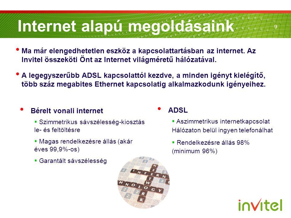 9 Internet alapú megoldásaink Ma már elengedhetetlen eszköz a kapcsolattartásban az internet. Az Invitel összeköti Önt az Internet világméretű hálózat
