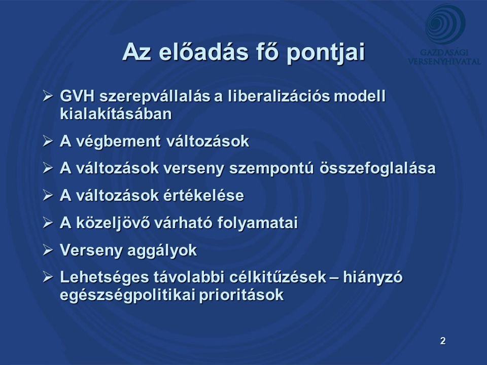 2 Az előadás fő pontjai  GVH szerepvállalás a liberalizációs modell kialakításában  A végbement változások  A változások verseny szempontú összefoglalása  A változások értékelése  A közeljövő várható folyamatai  Verseny aggályok  Lehetséges távolabbi célkitűzések – hiányzó egészségpolitikai prioritások