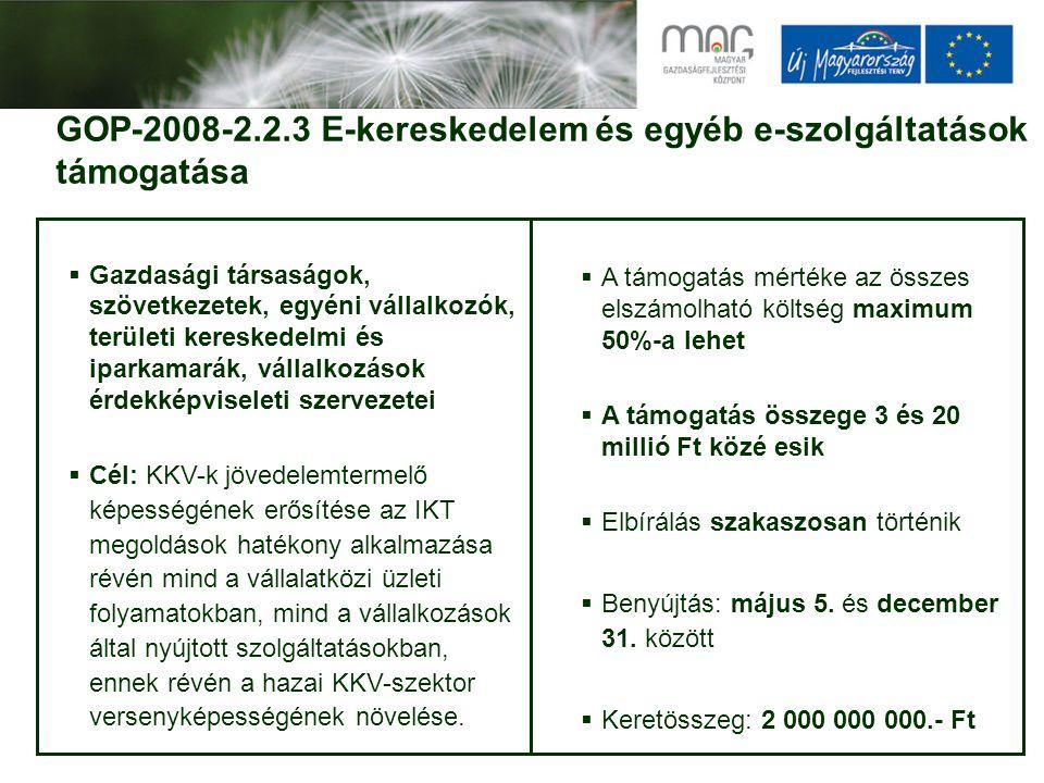 GOP-2008-2.2.3 E-kereskedelem és egyéb e-szolgáltatások támogatása  Gazdasági társaságok, szövetkezetek, egyéni vállalkozók, területi kereskedelmi és iparkamarák, vállalkozások érdekképviseleti szervezetei  Cél: KKV-k jövedelemtermelő képességének erősítése az IKT megoldások hatékony alkalmazása révén mind a vállalatközi üzleti folyamatokban, mind a vállalkozások által nyújtott szolgáltatásokban, ennek révén a hazai KKV-szektor versenyképességének növelése.