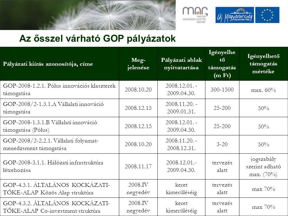Az ősszel várható GOP pályázatok Pályázati kiírás azonosítója, címe Meg- jelenése Pályázati ablak nyitvatartása Igényelhe tő támogatás (m Ft) Igényelhető támogatás mértéke GOP-2008-1.2.1.