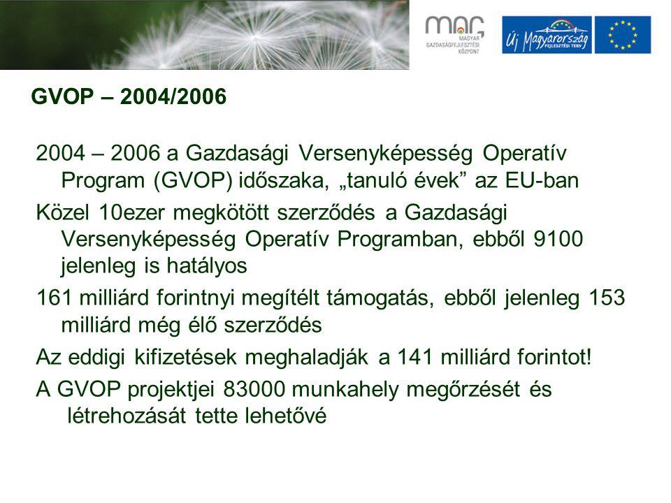 GOP – 2007/2013 2007 – 2013 a Gazdaságfejlesztési Operatív Program (GOP) időszaka, a tapasztalatok felhasználásának kora Számos szabályozási és intézményi változtatás, nagy hatású újdonságok a biztosítékok, az adminisztráció és az eljárásrendek területén a pályázók javára Eddig 3000 nyertes, 101 milliárd forint támogatás Több mint 9 milliárd forint kifizetés (utófinanszírozással!) Erősödő regionális fókusz: LHH preferencia, növekvő foglalkoztatási hatás